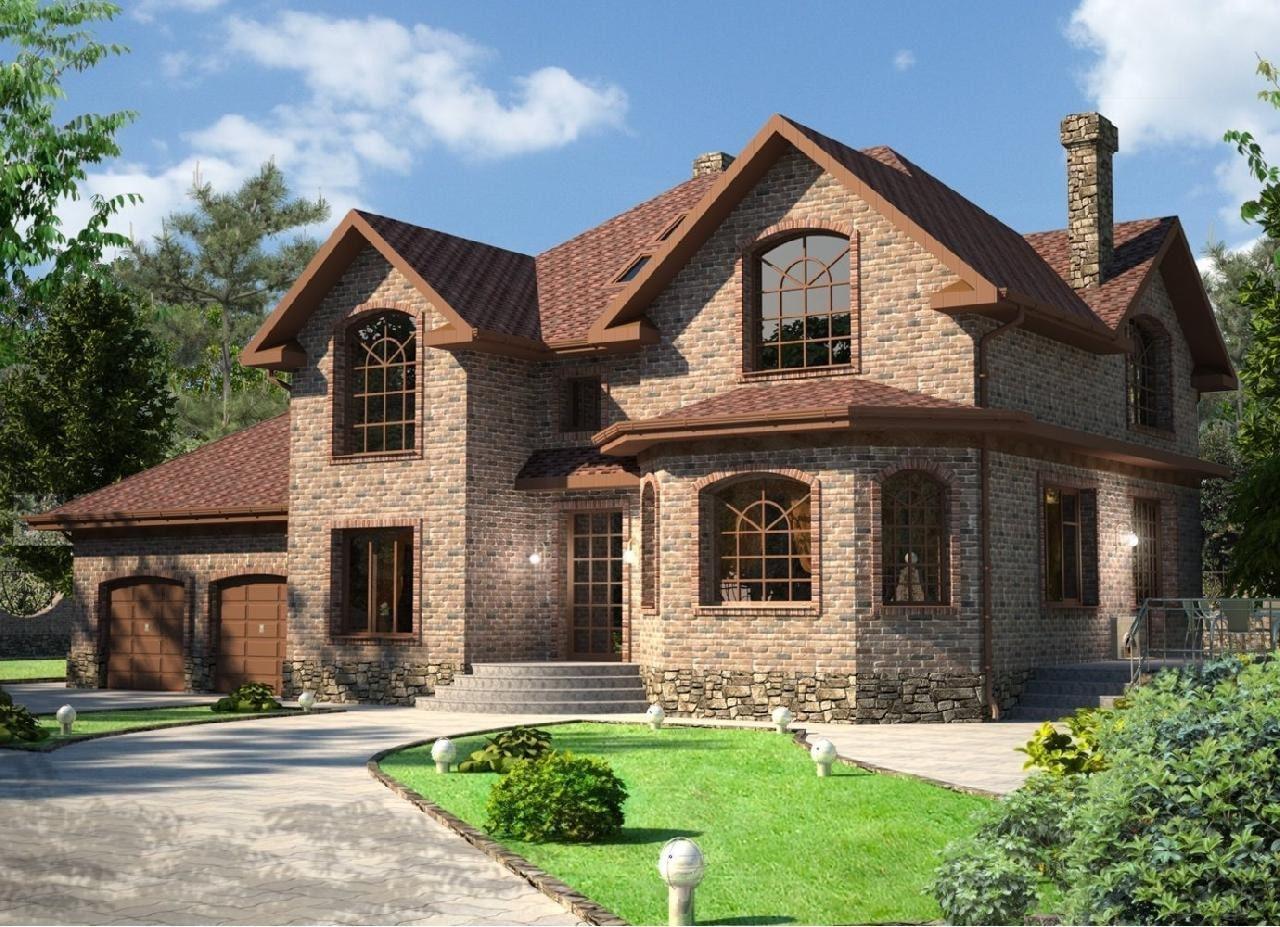 Красивые дома из красного кирпича фото